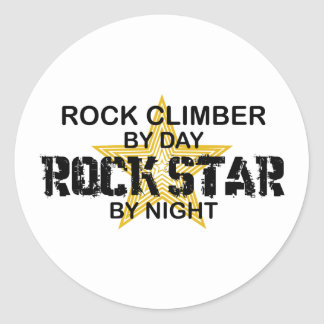 Rock Climber Rock Star by Night Classic Round Sticker