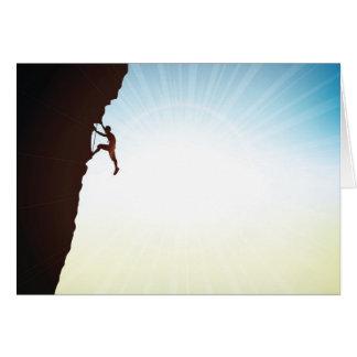 Rock Climber Silhouette Sun Flare Card