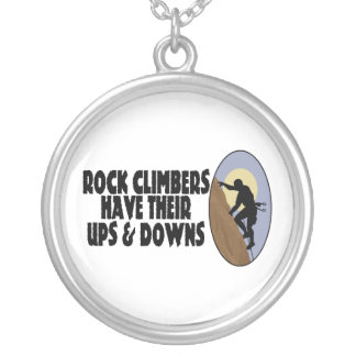Rock Climbers Have Ups & Downs Silver Plated Necklace