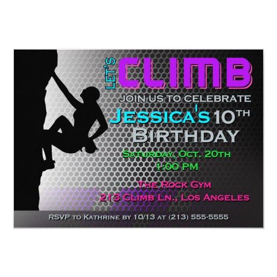 Rock climbing birthday invitation lets climb zazzle rock climbing birthday invitation lets climb filmwisefo