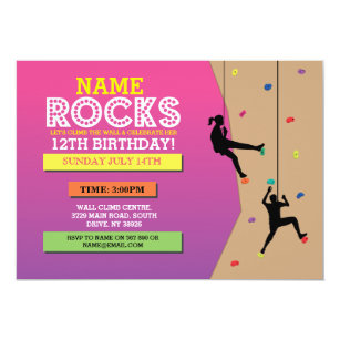 Rock Climbing Invitations Zazzle