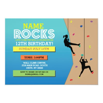 Rock Climbing Birthday Party Invitation Rock on Zazzlecom