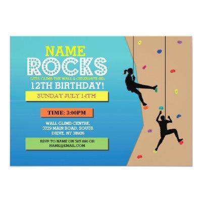 Modern rock climbing birthday party invitations zazzle filmwisefo