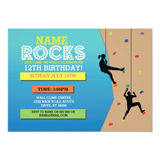 Rock Climbing Birthday Party Climbing Wall Invite Zazzle Com