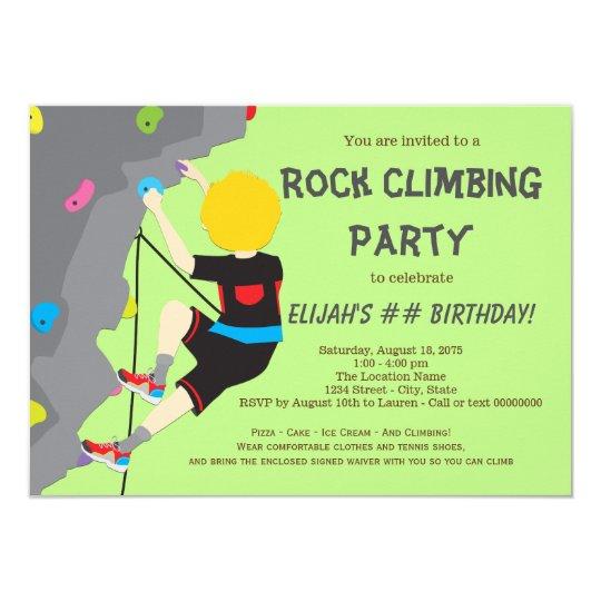 Rock climbing birthday party invitation zazzle rock climbing birthday party invitation filmwisefo
