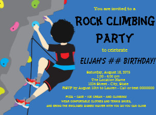 Rock climbing invitations zazzle rock climbing birthday party invitation filmwisefo