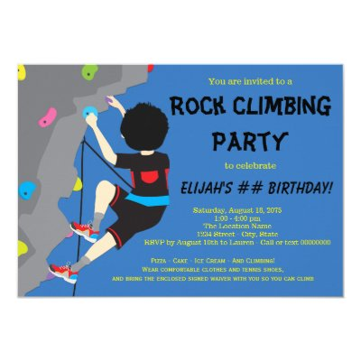 Boys rock climbing birthday party invitation zazzle filmwisefo