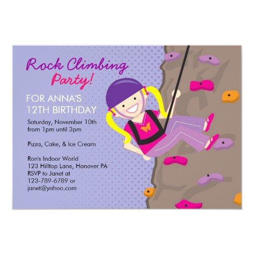 Rock Climbing Birthday Party Invitations | Zazzle