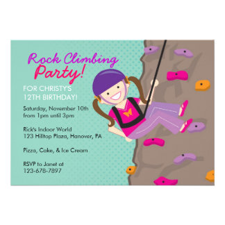 Rock Climbing Birthday Party Invitations