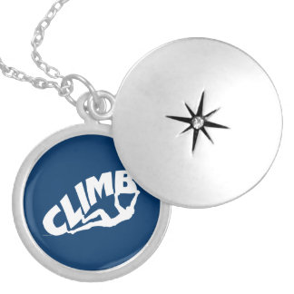 Rock Climbing Bouldering Silver Plated Necklace