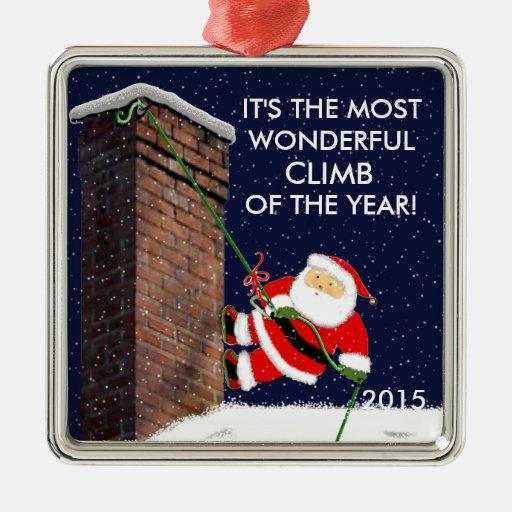 Rock climbing gift ideas square metal christmas ornament