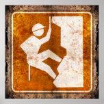 Rock Climbing Highway Road Sign Grunge Poster
