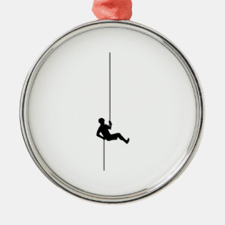 Rock Climbing Round Metal Christmas Ornament