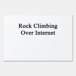 Rock Climbing Over Internet Signs