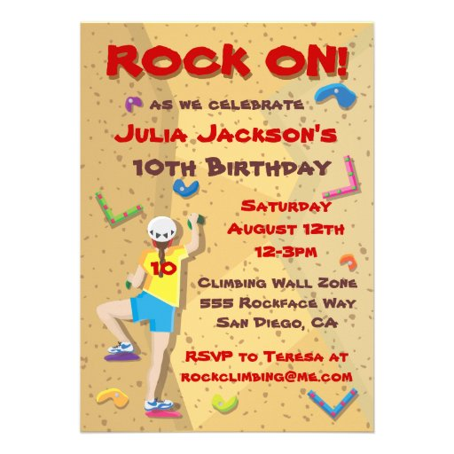 Personalized Rock climbing Invitations CustomInvitations4Ucom