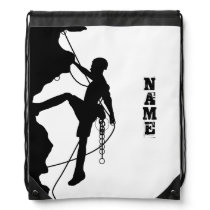 Rock Climbing Silhouette Drawstring Backpack