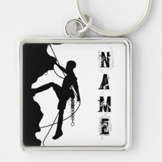"""Rock Climbing Silhouette Large (2.00"""") Square Keyc Silver-Colored Square Keychain"""