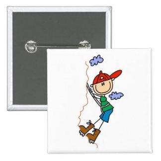 Rock Climbing Stick Figure Pinback Button