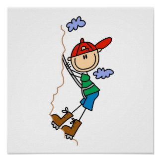 Rock Climbing Stick Figure Poster