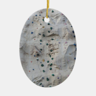 Rock Climbing Wall Double-Sided Oval Ceramic Christmas Ornament