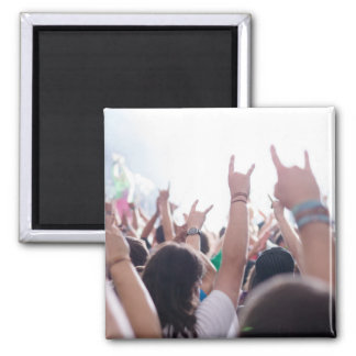 Rock Concert Audience 2 Inch Square Magnet