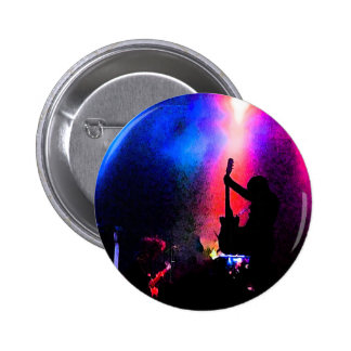 Rock Concert with Guitarist and Stage Lighting Button
