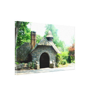Rock cottage house Stretched Canvas Print