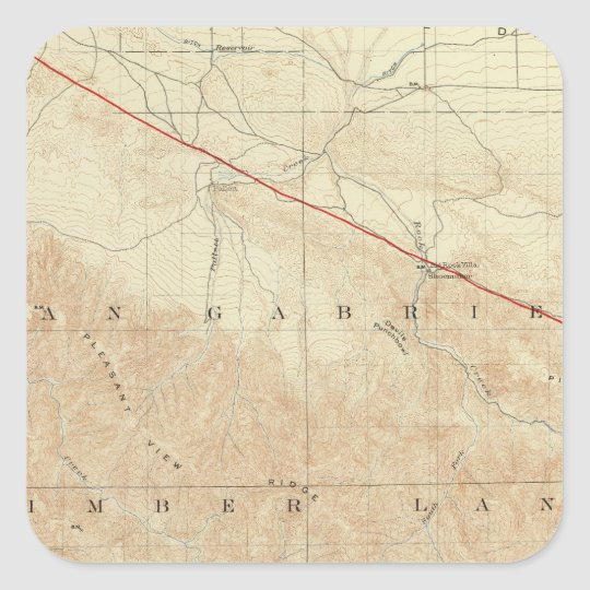 Rock Creek quadrangle showing San Andreas Rift Square Sticker