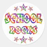Rock de la escuela de las estrellas pegatinas redondas
