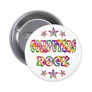 Rock de los ordenadores de las estrellas pin redondo 5 cm