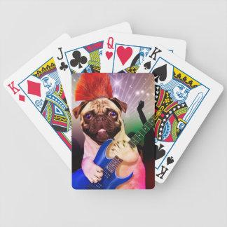 Rock dog - pug party - pug guitar - dog rocker bicycle playing cards