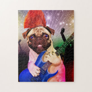 Rock dog - pug party - pug guitar - dog rocker jigsaw puzzle