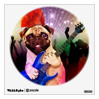 Rock dog - pug party - pug guitar - dog rocker wall sticker