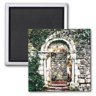 Rock Doorway and stairs in Moorish Castle 2 Inch Square Magnet