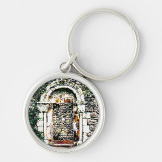 Rock Doorway and stairs in Moorish Castle Silver-Colored Round Keychain