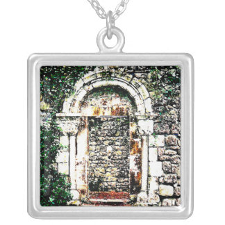 Rock Doorway and stairs in Moorish Castle Silver Plated Necklace
