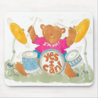 """rock drummer bear believes """"YES I CAN!"""" Mouse Pads"""