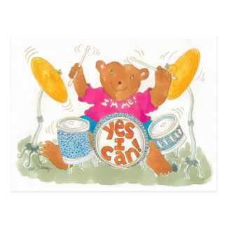 """rock drummer bear believes """"YES I CAN!"""" Postcard"""