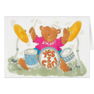 """rock drummer bear really believes """"YES I CAN!"""" Card"""