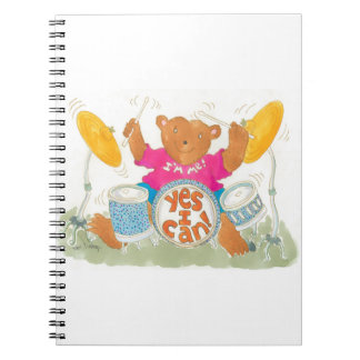 """rock drummer bear really believes """"YES I CAN!"""" Spiral Notebook"""