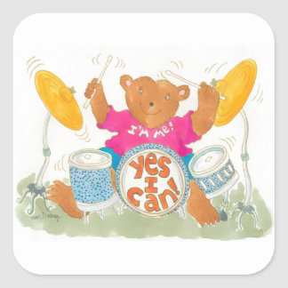"rock drummer bear says ""YES I CAN!"" Stickers"