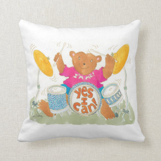 """rock drummer bear says """"YES I CAN!"""" Throw Pillow"""
