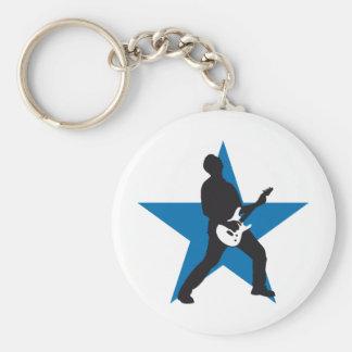 rock e-guitar player llavero redondo tipo pin