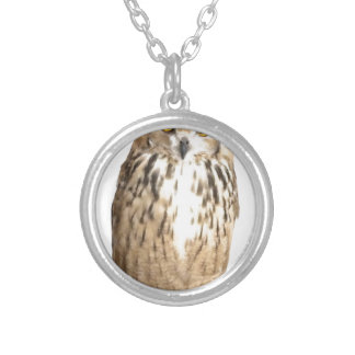 Rock eagle owl silver plated necklace