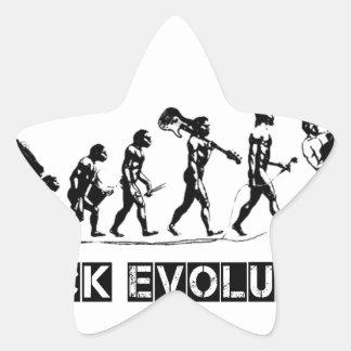 Rock Evolution funny design Star Sticker