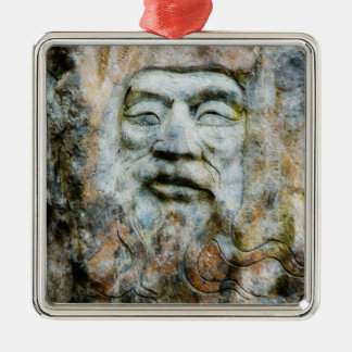 Rock Face - Man Carved in Stone Metal Ornament
