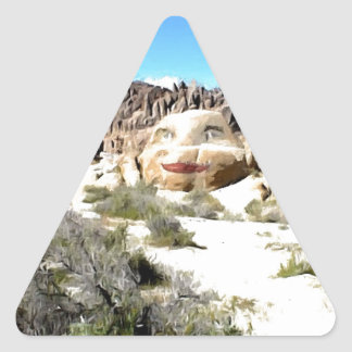 Rock Face with Lipstick Triangle Sticker