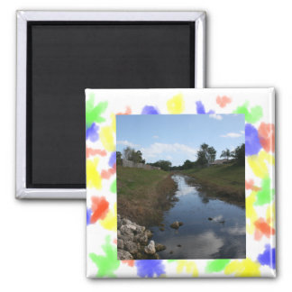Rock Fence Water House Florida Picture 2 Inch Square Magnet