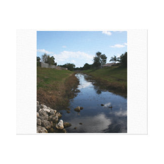 Rock Fence Water House Florida Picture Canvas Print