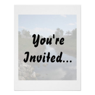Rock Fence Water House Florida Picture Invitation